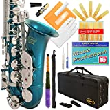 370-SB -Sea Blue/Silver Keys Eb E Flat Alto Saxophone Sax Lazarro+11 Reeds,Music Pocketbook,Case,Care Kit - 24 Colors with Silver or Gold Keys