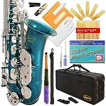 Lazarro 370-SB E-Flat Eb Alto Saxophone Sea Blue-Silver Keys with Case, 11 Reeds, Care Kit and Many Extras