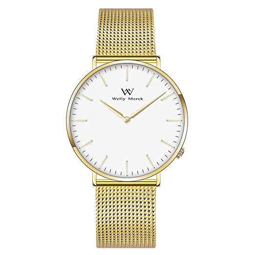 Welly Merck para Mujeres Movimiento Suizo Cristal de Zafiro Reloj Lujoso Elegante Minimalismo Reloj Delgado Ultra