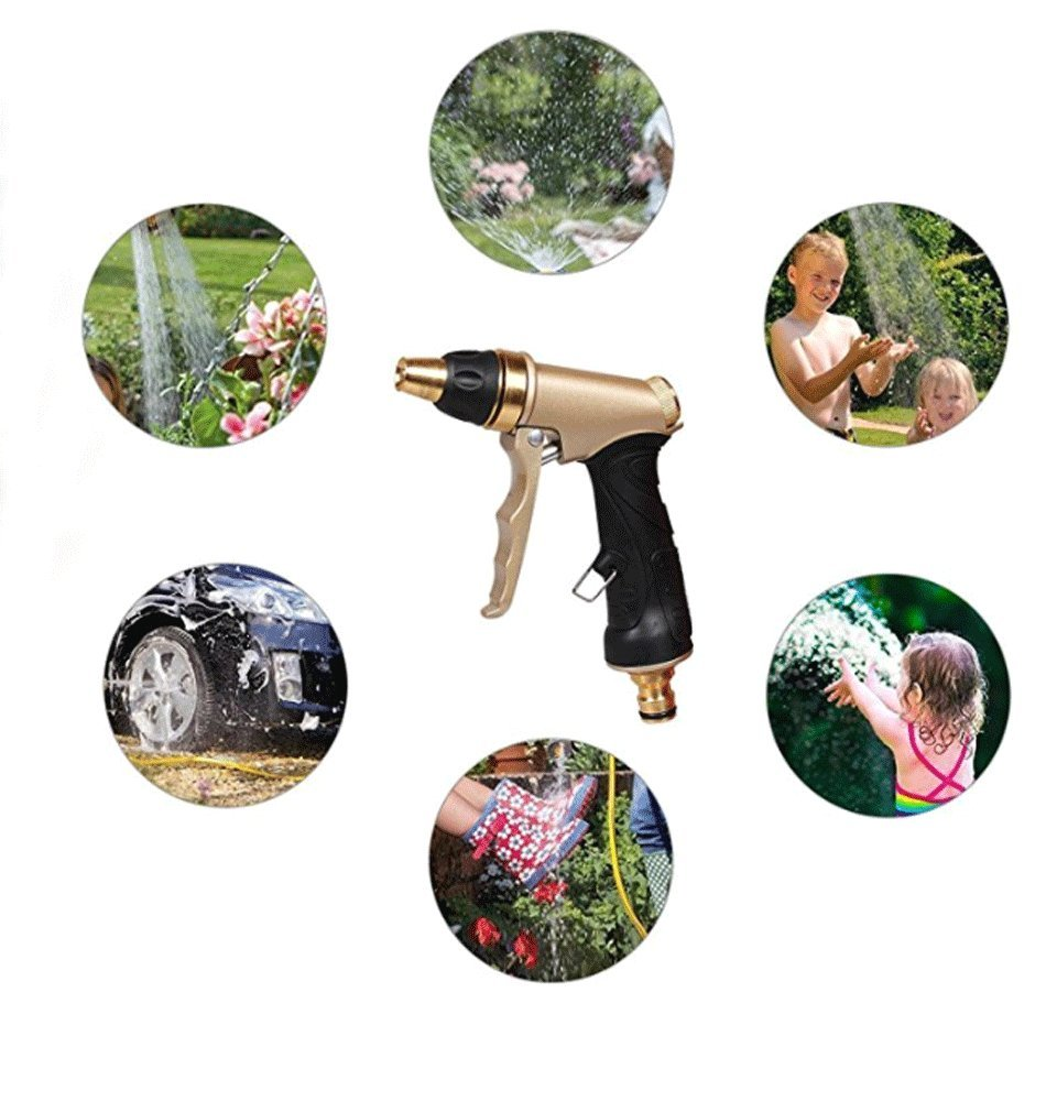 Zinnor Garden Hose Nozzle Sprayer Gun, Pistol Grip Tip Garden Hose Nozzle – Heavy Duty Metal Pressure Power Washer Gun for Washing Cleaning Watering