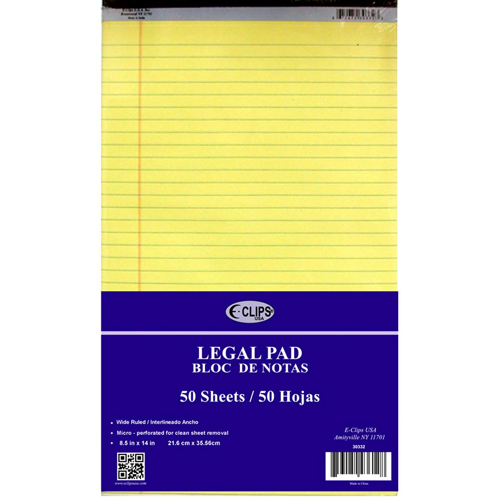 Legal Pad, 8.5'' x 14'', 50 Sheets, Canary, Case Pack of 48, Ideal for Bulk Buyers