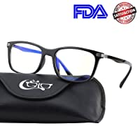 CGID CT46 Premium TR90 Frame Blue Light Blocking Glasses,Anti Glare Fatigue Blocking Headaches Eye Strain,Safety Glasses for Computer/Phone/Tablet,Rectangle Flexible Unbreakable Frame,Transparnet Lens