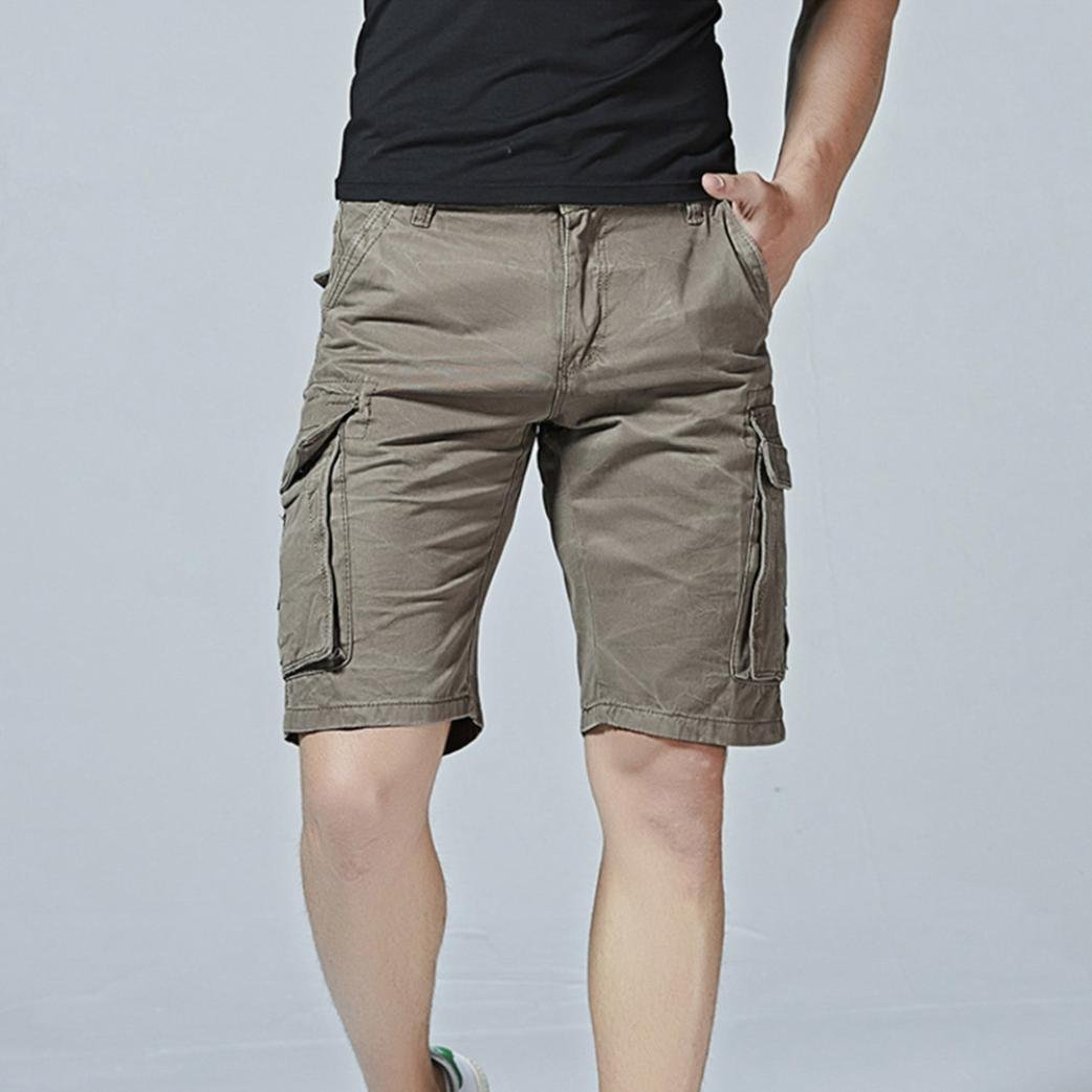 Faionny Mens Shorts Pants Solid Trouser Casual Pure Color Outdoors Pocket Beach Work Trouser Cargo Shorts