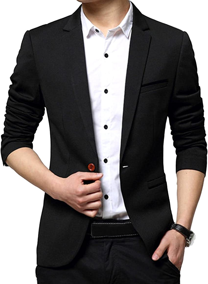OUYE Men's Classic 1 Button Slim Fit Suit Jacket Casual Blazer