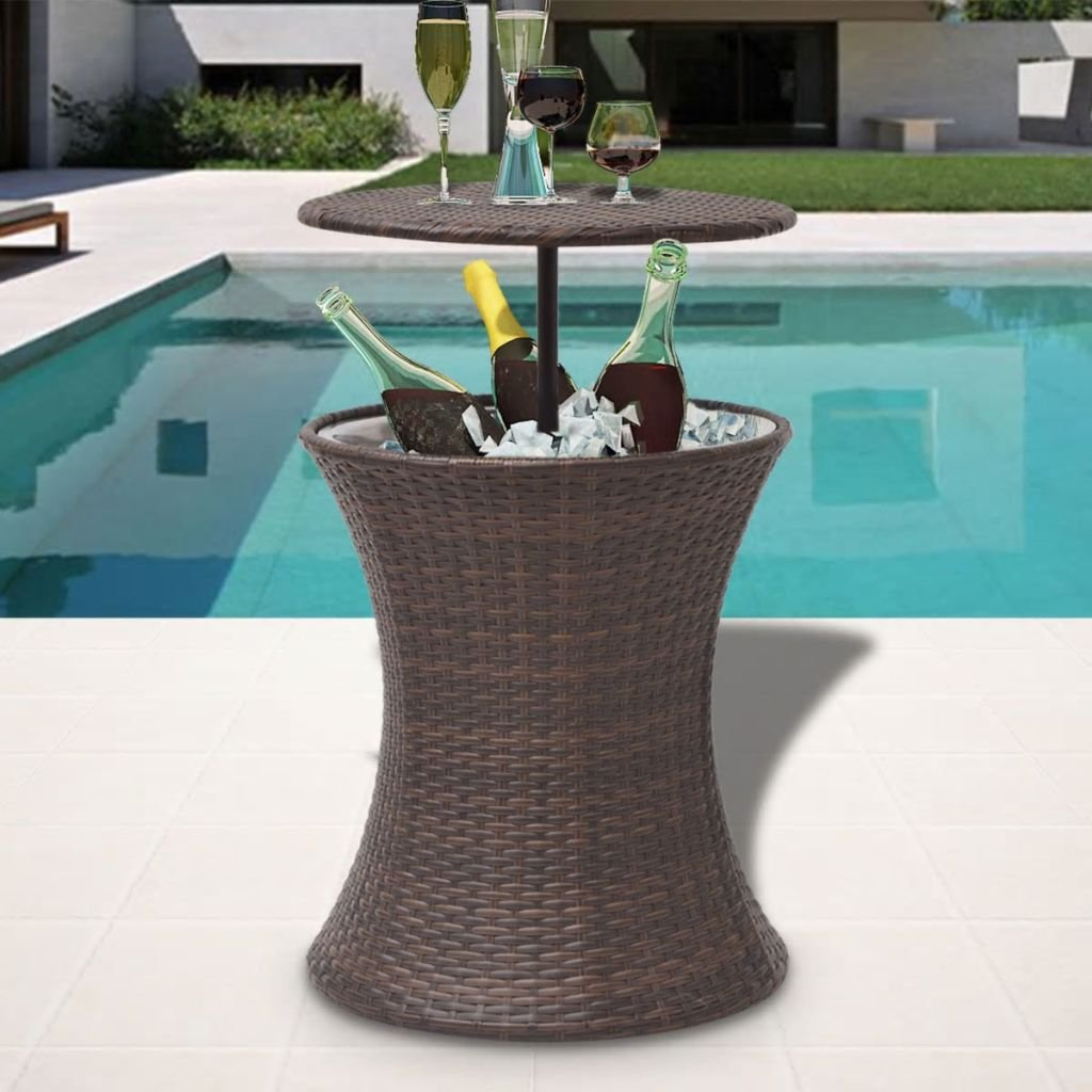 LicongUS Ice Cooler Bucket Table Poly Rattan Brown Dining Table Patio Dining Table Bucket material: Stainless steel