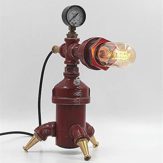 Vampsky Industrial Vintage Lámpara de escritorio roja E27 Hierro ...