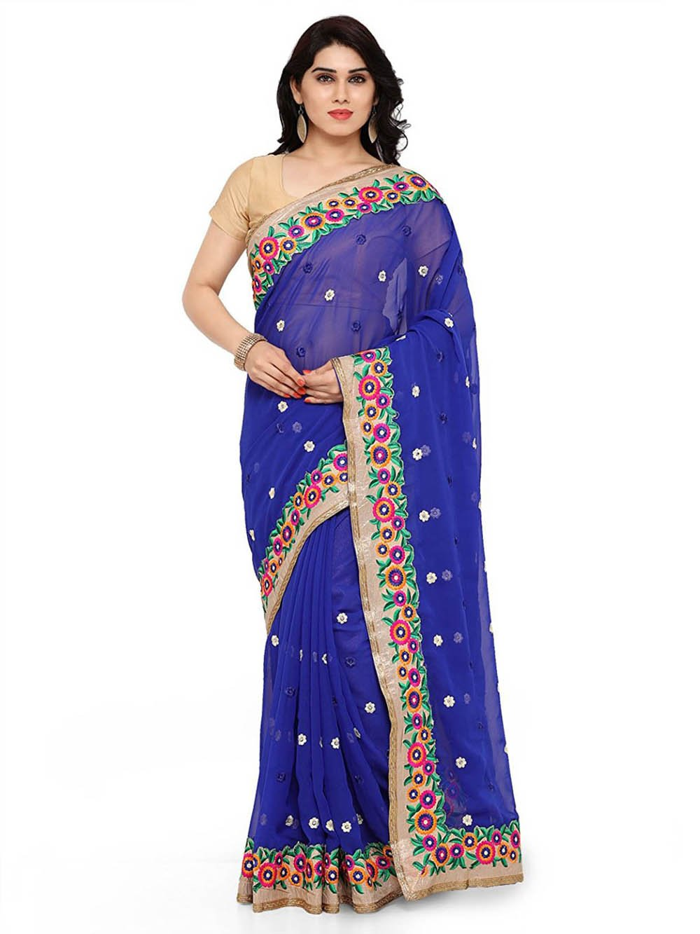 Rewa Enterprises Women's Trendy & Fancy Georgette Designer Saree with Stylish Embroidery for Party Wear/Daily Wear, Blue