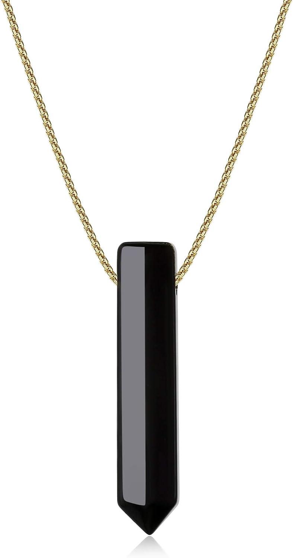 COAI® Collar con Colgante de Piedra Genuina Hexagonal Punta