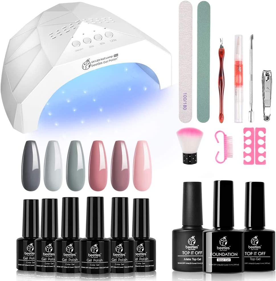 Beetles Nude Grays 6 Colors Gel Nail Polish Starter Kit with UV Light 48W LED Nail Lamp Base Gel Top Coat, Soak Off UV Nude Pink Natrual Gel Nail Polish Set DIY Home Nail Art Designs Gel Manicure Kit