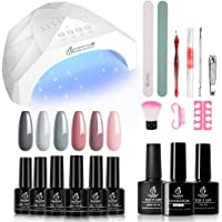 Beetles Nude Grays Gel Nail Polish Kit with Light 48W LED Nail Lamp Pink Gel Nail Polish Starter Kit Manicure with Light…