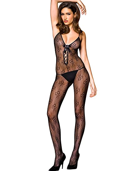 9860a26e94b MUSIC LEGS Women s Lace Up Front Bodystocking Satin Bow and Rhinestone  Buckle