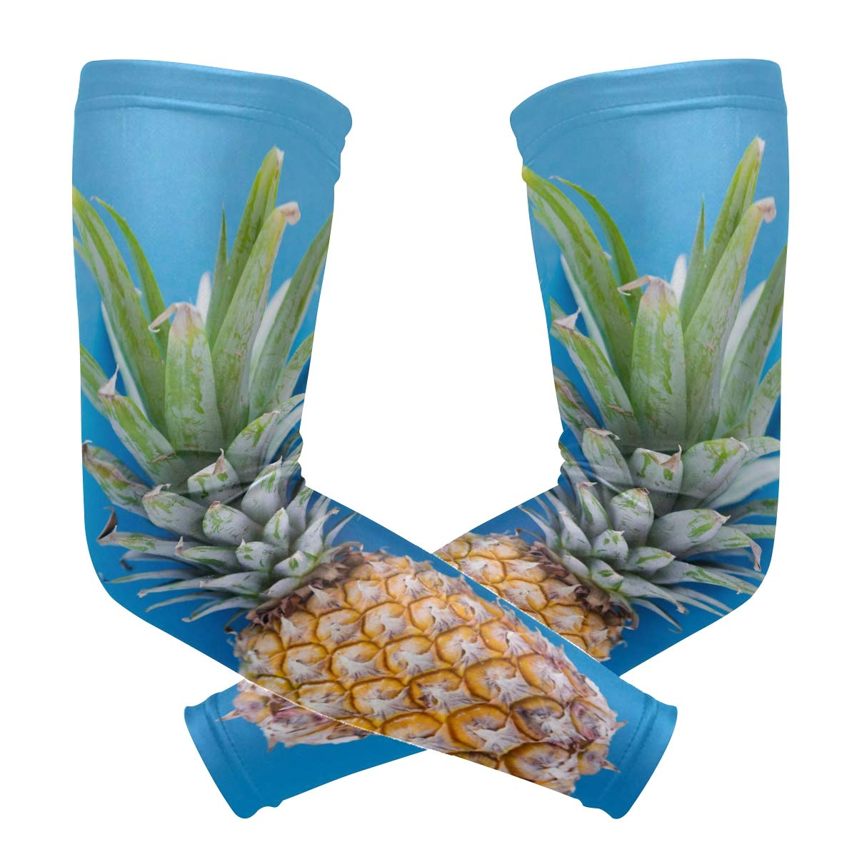Arm Sleeve Pineapple Sports Compression/UV Protection/Dry-Fast Breathable/Warmth for Men Women Cycling/Golf/Basketball 1 Pair