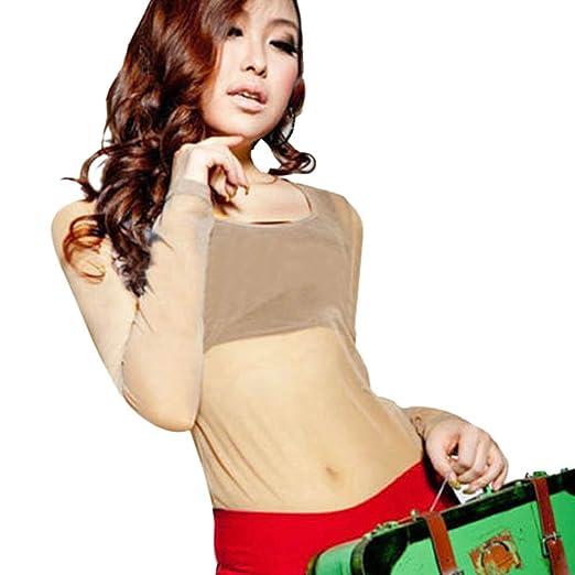 9501c2e5cc Amazon.com  Weixinbuy Women s Sheer Mesh T-Shirt Sexy See Through Long  Sleeve Tops Blouse  Clothing