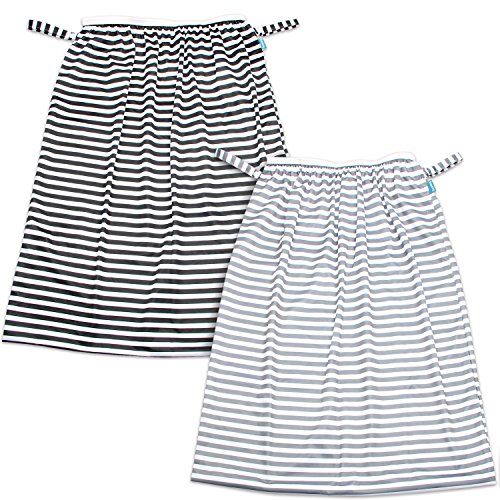 Teamoy (2 Pack) Reusable Pail Liner for Cloth Diaper/Dirty Diapers Wet Bag, Gray Strips+Black Strips by Teamoy