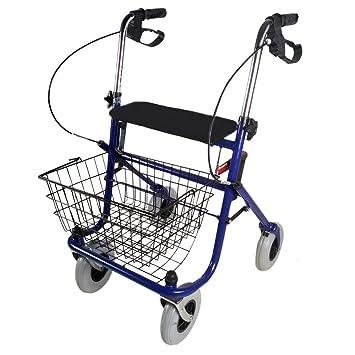 Andador para ancianos, Plegable, Freno en manetas, Asiento, 4 ruedas, Cesta, Azul, Victoria, Mobiclinic