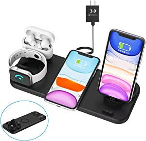 Latest 2020 Wireless Charger, 6 in 1 Wireless Fast Charging Station for Apple Watch/AirPods Pro/iPhone 12 Series/SE 2020/iPhone X/XS/XS Max/XR/8/8 Plus/iPhone 11/11 Pro/11 Pro Max Samsung S20/S10