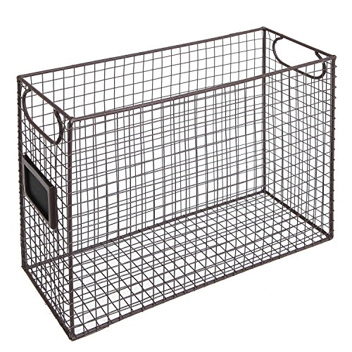 Mesh Wire Brown Metal Document Storage Container/Magazine Rack/File Folder Organizer w/Label Holder by MyGift