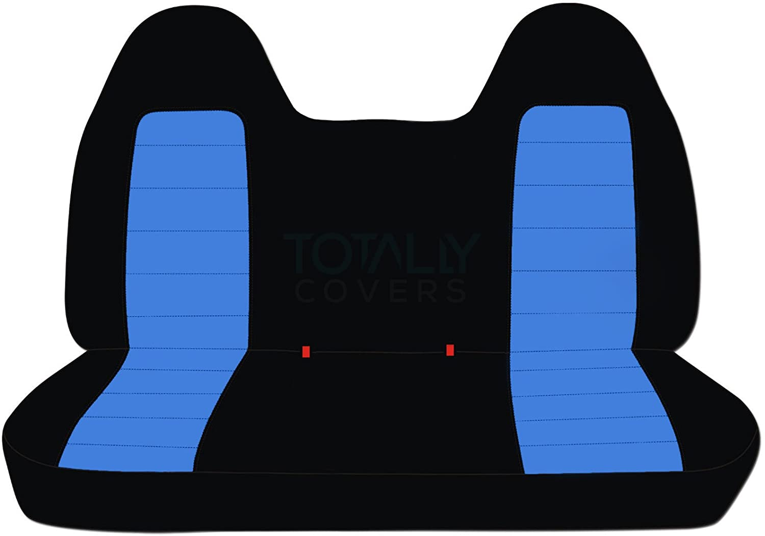 1992-1998 Ford F-150 F-250 F-350 Two-Tone Truck Seat Covers (Front/Rear Solid Bench) w/wo Separate Headrests/Armrest: Black & Burgundy (21 Colors) 1993 1994 1995 1996 1997 F-Series F150 F250 F350 Designcovers