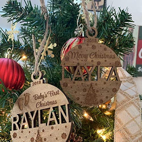 Stained and Personalized Christmas Ornament, Wooden, Baby Shower Gift, Newborn Keepsake, Ornament, Baby Gift, Custom, Engraved, Christmas