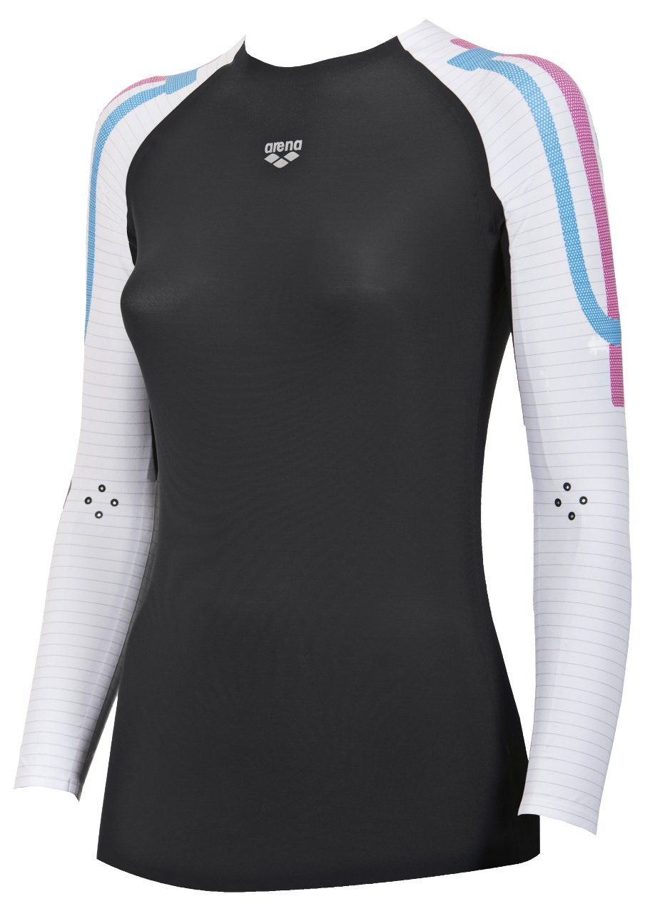 Arena Womens Carbon Long Sleeve Compression Baselayer Shirt Damen Kompressions Langarm Shirt Carbon deep Womens