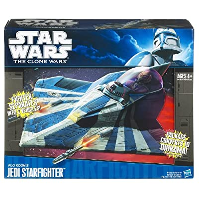 Hasbro Star Wars Clone Wars Star Fighter Vehicle Plo Kloons Jedi Star Fighter