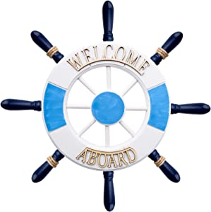 12'' Nautical Wooden Ship Wheel for Wall Decor, Boat Steering Rudder Hanging Ornament, Beach Theme Home Interior Decoration