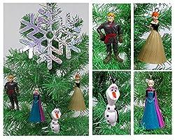 Disney Frozen Christmas Tree Ornament Set Featuring Anna,...