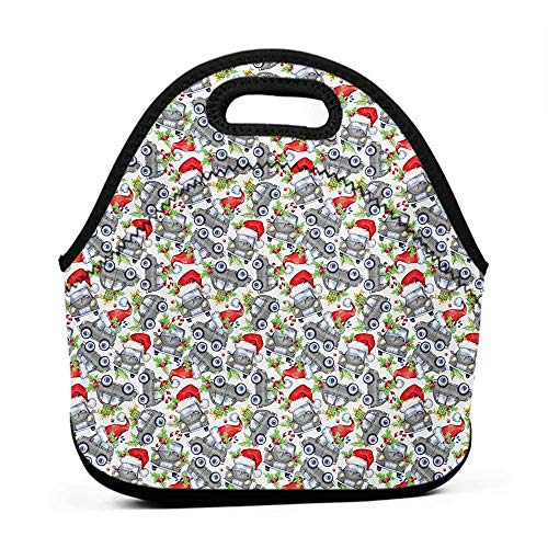 Rugged Lunchbox Cars,Christmas Themed Hand Drawn Cars with Santa Hats and Presents on Winter Holiday,Lime Green Grey,lunch bag leakproof for men]()