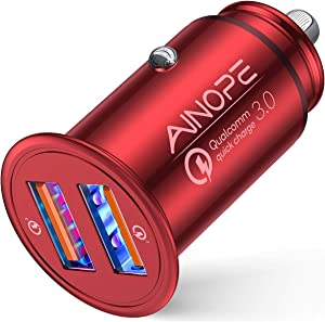 AINOPE USB Car Charger, [Dual QC3.0 Port] 36W/6A [All Metal] Fast Car Charger Mini Cigarette Lighter USB Charger Quick Charge Compatible with iPhone 11/11 pro/XR/X/XS, Note 9/Galaxy S10/S9/S8-RED