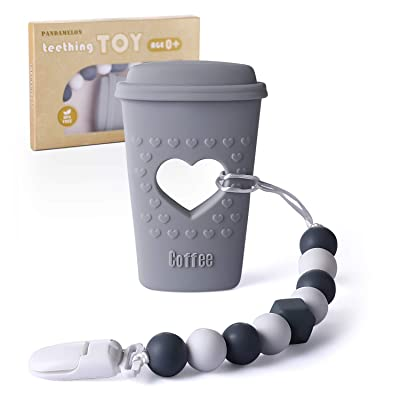 Pandamelon Baby Teething Toys, Coffee Cup Teether with Pacifier Clip Holder Kit, for Newborn Infants, BPA Free Silicone, for Boy/Girl (Grey): Toys & Games