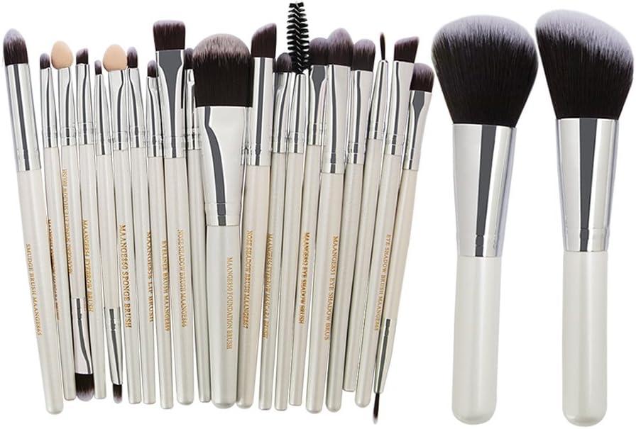 NaiCasy 22Pieza Profesional Fibra Cabello Pinceles de Maquillaje Set Plata Blanco