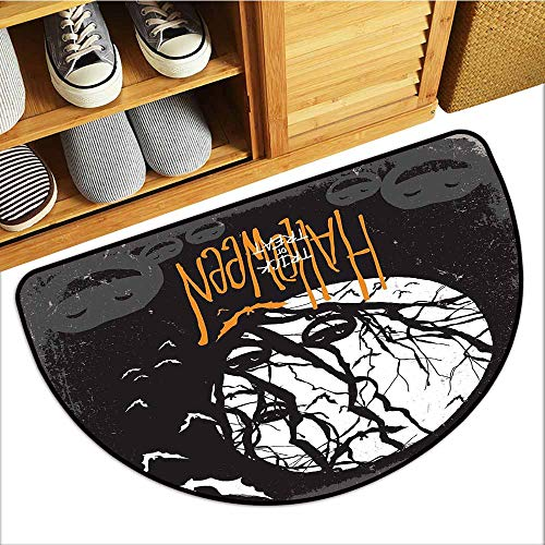 Axbkl Outdoor Door mat Vintage Halloween Halloween Themed Image with Full Moon and Jack o Lanterns on a Tree Super Absorbent mud W24 xL16 Black White