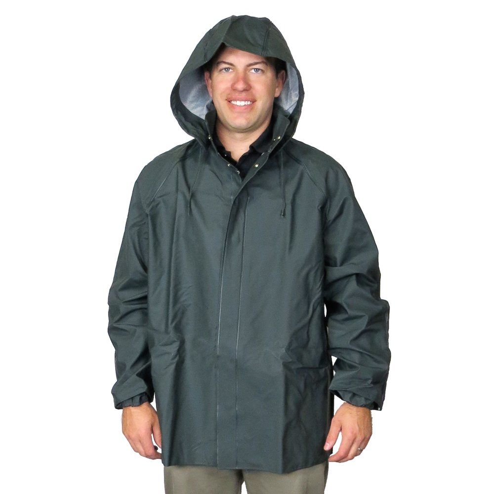 UltraSource PVC Rain and Fishing Jacket w/Hood, Size Large by UltraSource
