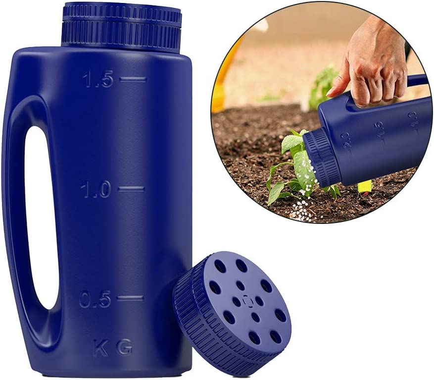 Comes with a Spare Lid Fertilizer Spreader Grass Blue Spreader Hand Held with Adjustable Hole Size Handy for Fertiliser Lawn Seed Grit Rock Salt to Deice Insect Repellent and More Heavy Duty