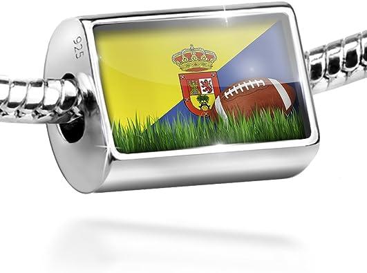 Plata de Ley de fútbol con bandera gran canaria (España) encanto por Neonblond: Amazon.es: Joyería