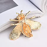 Honey Bee Brooches Crystal Insect Themed Bee Brooch Animal Fashion Shell Pearl Brooch Pin Gold Tone