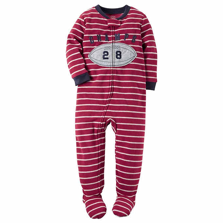 de8c44537310 Carters Little Boys Printed Footed 1 Piece Fleece Zip-Up Sleepwear ...