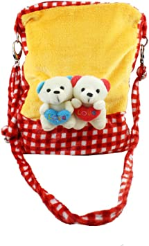 Tickles Red Couple Teddy Sling Bag Stuffed Soft Plush Toy for Kids 4 litres