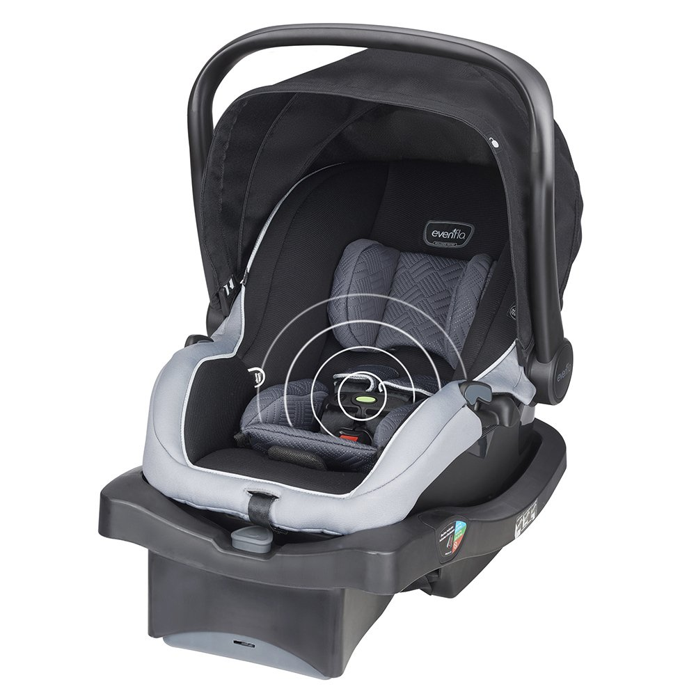 Evenflo LiteMax 35 with SensorSafe Technology Infant Car Seat, Concord, Black, Grey 30511648C