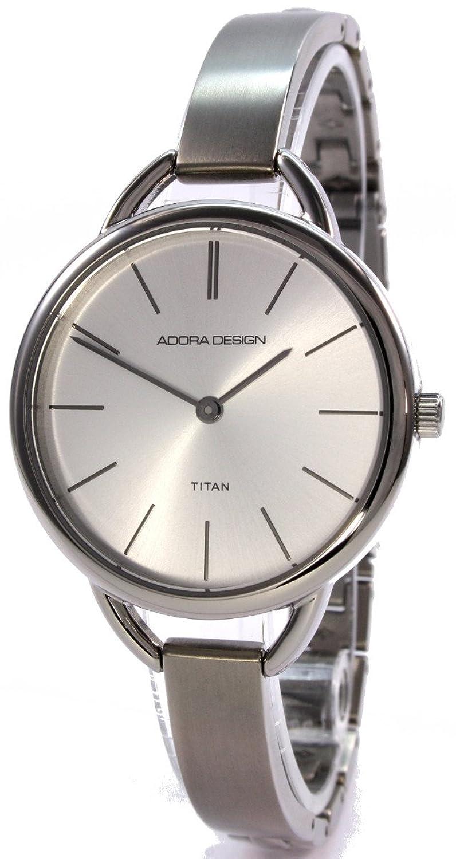 Adora Design 60177SI Runde Titan Damenuhr Silbern Schmales Metallband