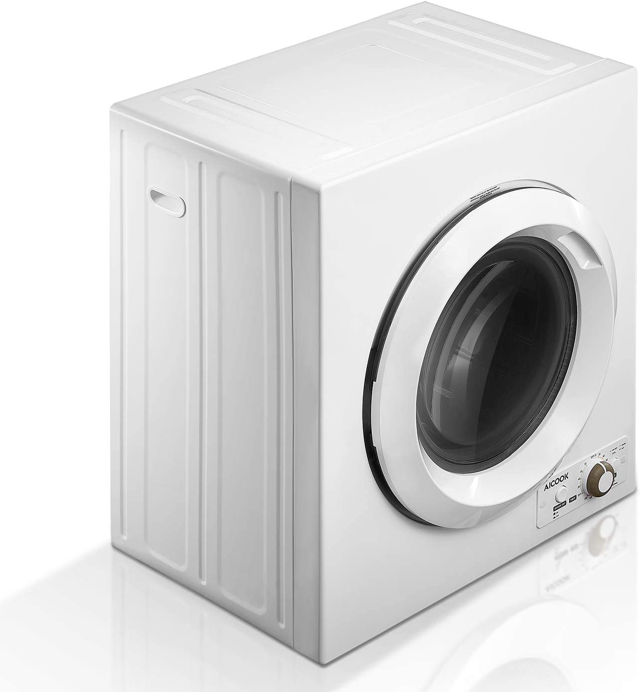 AICOOK Clothes Dryer, 9 lbs Load Portable Dryer for Apartments, 2.65 Cu.Ft 1400W Compact Laundry Dryer with Sensor System, Stainless Steel Tub and 4 Automatic Drying Mode, 110V & 120V