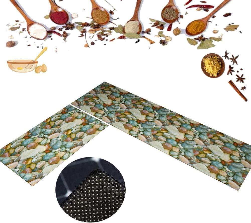 2 Tailles Tapis Cuisine LXHONG Tapis De Cuisine Devant Evier Entr/ée Durable Pied Se Sentant /À Laise Absorption Dhuile Polyester Balcon Ensemble De 2 9 Couleurs