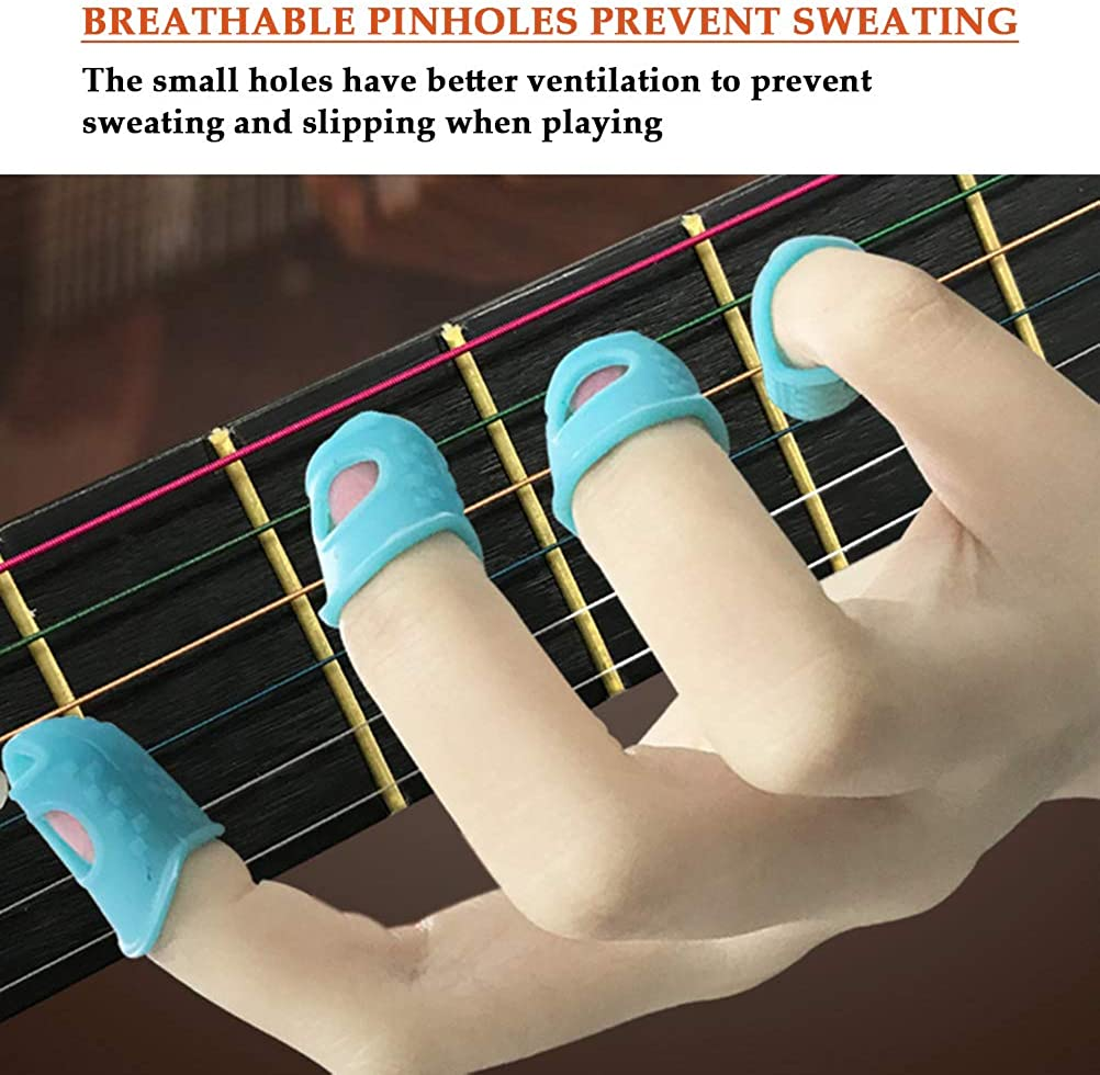 40Pcs Silicone Guitar Finger Guards Flexible Finger Protection Covers Caps Perfect for Guitar Beginners When Playing Stringed Instruments