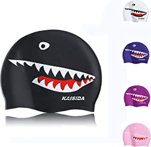 KAISIDA Swimming Cap for Men,Adult,Women,Silicone Swimming Cap Keep Hair Dry,Shark Swimming Cap for One Size Hat