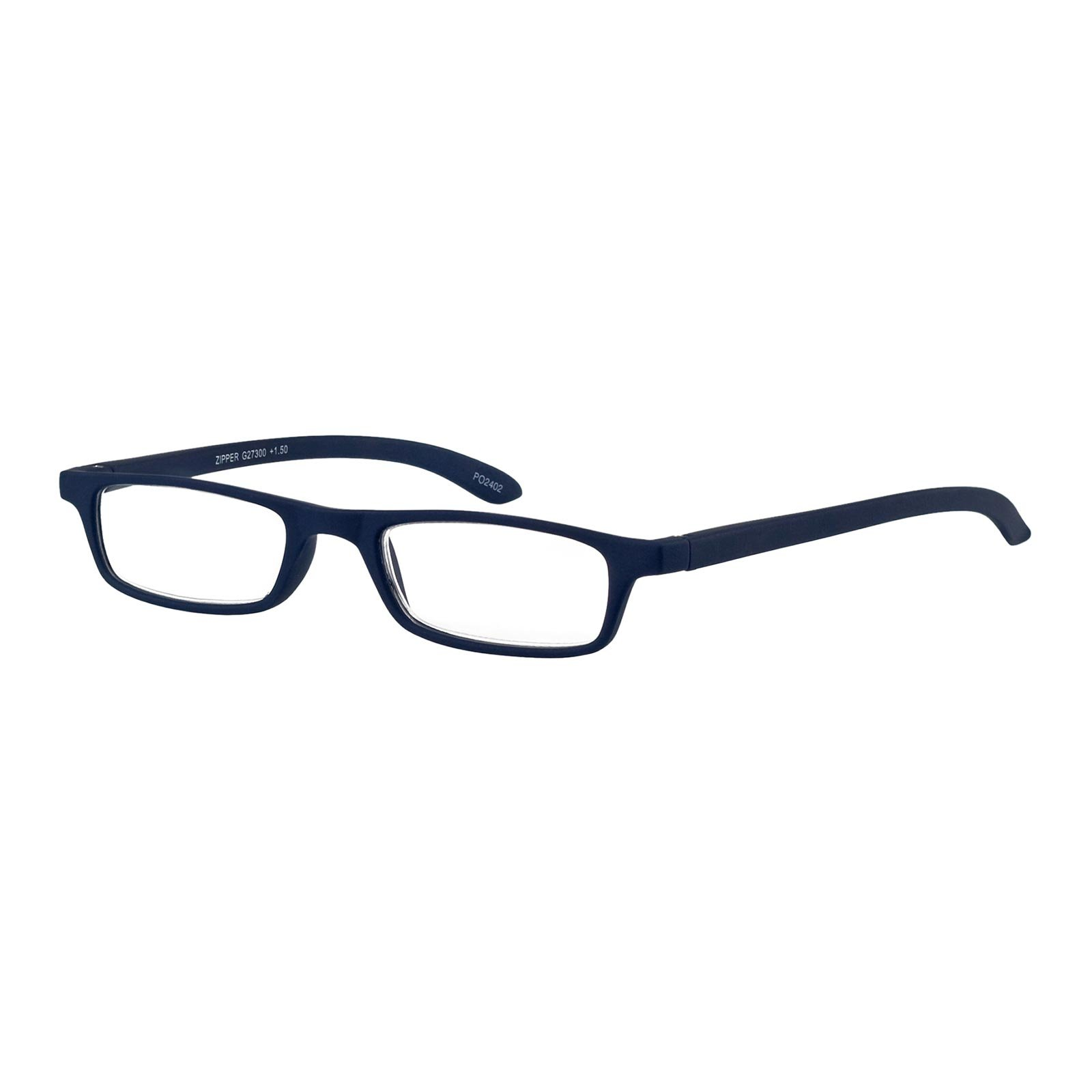 YOU Rectangular Reading Glasses Blue Zipper