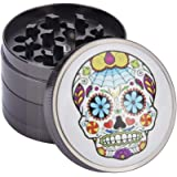 Herb Grinder, Gray Color Small Spice Grinder with Pollen Catcher 4 Piece 2in