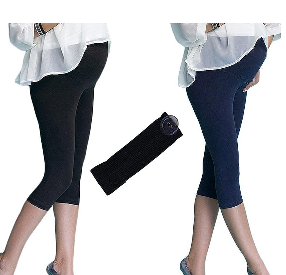 Mija 2er-Set 3//4 Komfortable Umstandsleggings Capri Leggings Hosenerweiterung 7202