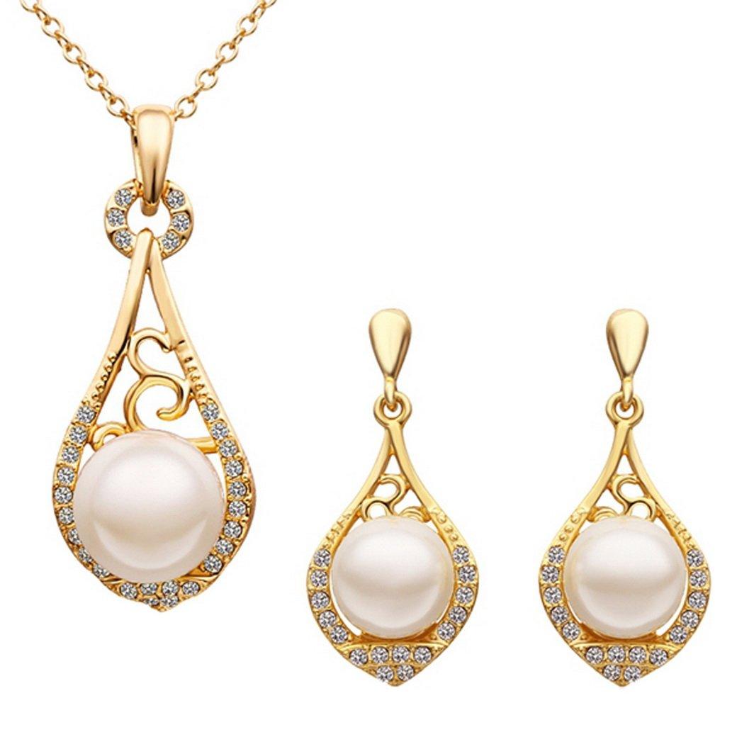 TANGDA Parure Collier et Boucle d'Oreille Femme Alliage 18K Plaqué Or Jaune avec Grande Perle Artificielle Avec boîte cadeau JAG40194