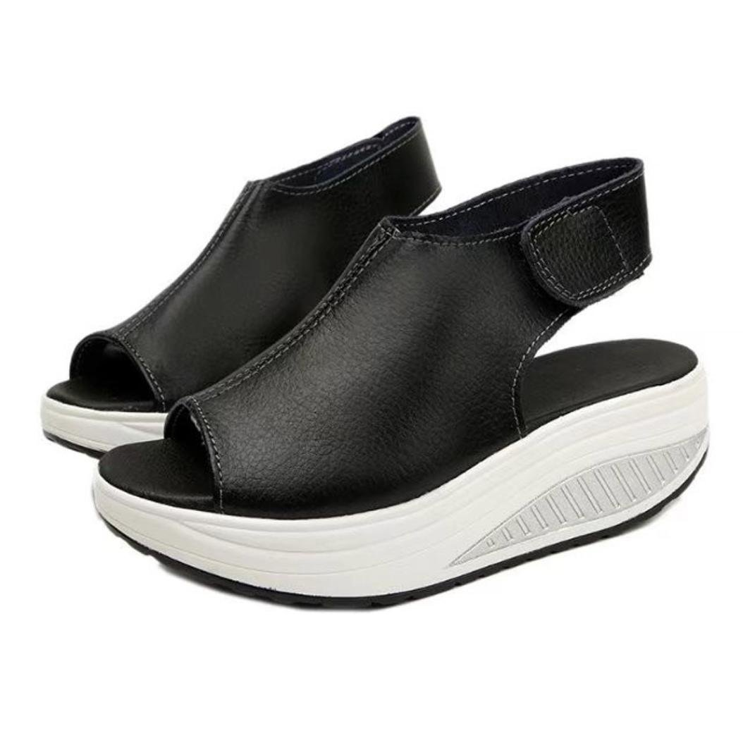 Women Sandals High Heels Summer,Vanvler Ladies Thick Bottom Shoes Shake Shoes Fish Mouth (US 7.5, Black)