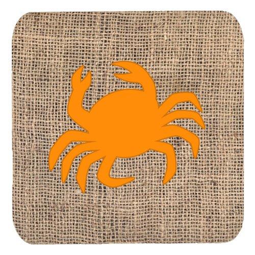3.5 H x 3.5 W Multicolor Carolines Treasures BB1024-BL-OR-FC Crab Burlap and Orange Foam Coasters Set of 4